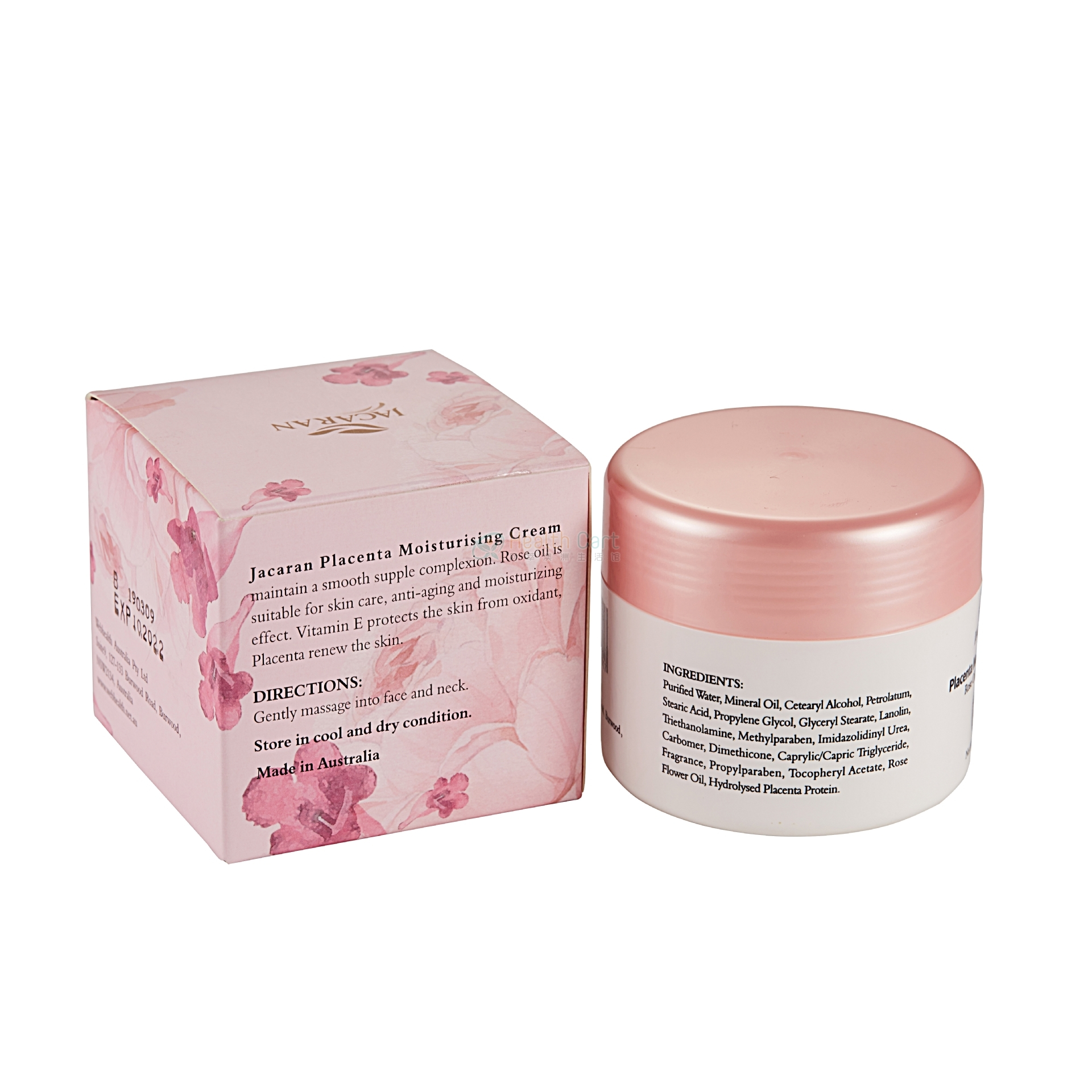 Jacaran Placenta Moisturising Cream Rose Oil with Vitamin E 100g - 100 ml rose essential oil from jakari sheep oil jacaran australia - 4    - Health Cart